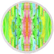 Hand-painted Abstract Watercolor In Bright Rainbow Hues Round Beach Towel