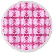Hand-painted Abstract Watercolor In Dark Pink And White Round Beach Towel