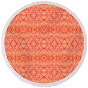 Hand-painted Abstract Watercolor In Orange Tangerine Round Beach Towel