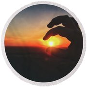 Round Beach Towel featuring the photograph Hand Silhouette Around Sun - Sunset At Lapham Peak - Wisconsin by Jennifer Rondinelli Reilly - Fine Art Photography