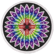 Round Beach Towel featuring the mixed media Hand Totem Mandala by Kym Nicolas