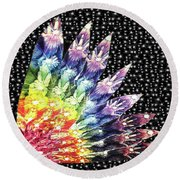 Round Beach Towel featuring the mixed media Hand Totem Wing by Kym Nicolas