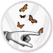 Hand With Orange Monarch Butterfly Round Beach Towel