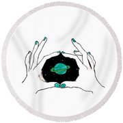 Hands Around Saturn Round Beach Towel