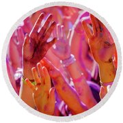 Round Beach Towel featuring the photograph Hands Up-2 by Okan YILMAZ