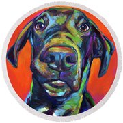 Round Beach Towel featuring the painting Handsome Hank by Robert Phelps