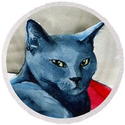 Handsome Russian Blue Cat Round Beach Towel