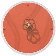 Handwheel - Orange Round Beach Towel