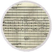Handwritten Manuscript Score For Kyrie For The Mass In A Flat And E Flat Major Round Beach Towel