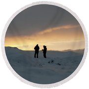 Round Beach Towel featuring the photograph Hanging Around Iceland by Dubi Roman