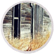 Round Beach Towel featuring the photograph Hanging By A Bolt by Julie Hamilton