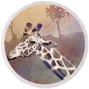 Round Beach Towel featuring the painting Hanging Out- Giraffe by Ryan Fox