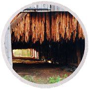 Round Beach Towel featuring the photograph Hanging Tobacco by James Kirkikis