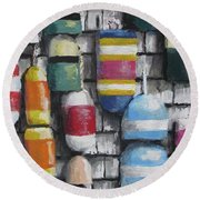 Hanging With The Buoys Round Beach Towel