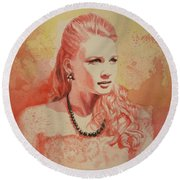 Hannah, Study In Red Round Beach Towel