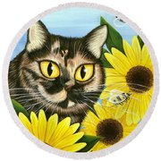 Hannah Tortoiseshell Cat Sunflowers Round Beach Towel