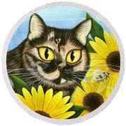 Hannah Tortoiseshell Cat Sunflowers Round Beach Towel