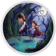 Hansel And Gretel Pebbles Round Beach Towel