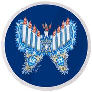 Hanukkah Butterfly Round Beach Towel
