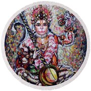 Hanuman - Ecstatic Joy In Rama Kirtan Round Beach Towel