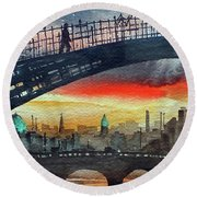 Hapenny Bridge Sunset, Dublin...27apr18 Round Beach Towel