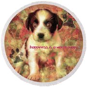 Round Beach Towel featuring the digital art Happiness 2016 by Kathryn Strick