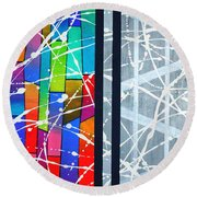 Happiness Against The Steel Round Beach Towel by Jeremy Aiyadurai