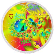 Round Beach Towel featuring the mixed media Happiness by Kevin Caudill