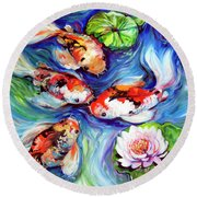 Happiness Koi Round Beach Towel
