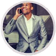 Happy African American Businessman Working In New York 15082323 Round Beach Towel