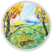 Happy Autumn Round Beach Towel by Evelina Popilian