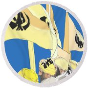 Happy Baisakhi Abstractart  Round Beach Towel