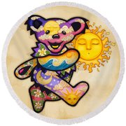 Happy Bear And Sun Round Beach Towel