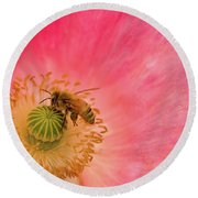 Happy Bee Round Beach Towel