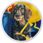 Round Beach Towel featuring the drawing Happy Birthday by Barbara Keith