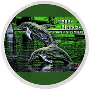 Happy Birthday Pisces Round Beach Towel