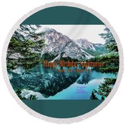 Happy Birthday Sagittarius Round Beach Towel