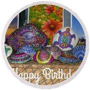 Happy Birthday Shells Round Beach Towel