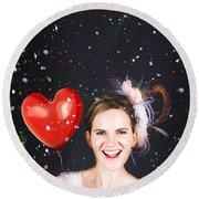 Happy Bride In Confetti During Wedding Celebration Round Beach Towel