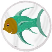 Happy Carnival Fish Round Beach Towel