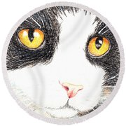 Happy Cat With The Golden Eyes Round Beach Towel