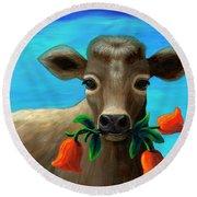 Happy Cow Round Beach Towel