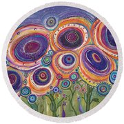Happy Dance Round Beach Towel by Tanielle Childers
