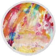 Happy Day- Abstract Art By Linda Woods Round Beach Towel