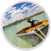 Round Beach Towel featuring the photograph Happy Dinghy by T Brian Jones