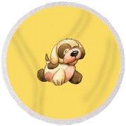 Happy Dog Round Beach Towel