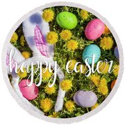 Round Beach Towel featuring the photograph Happy Easter by Teri Virbickis