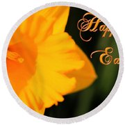 Round Beach Towel featuring the photograph Happy Easter Yellow Daffodil Spring Flowers by Shelley Neff