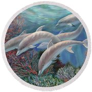 Happy Family - Dolphins Are Awesome Round Beach Towel
