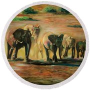 Happy Family Round Beach Towel by Khalid Saeed